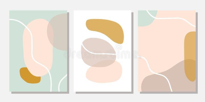 Moderne Schablonen mit abstrakten Formen in den Pastellfarben lizenzfreie abbildung