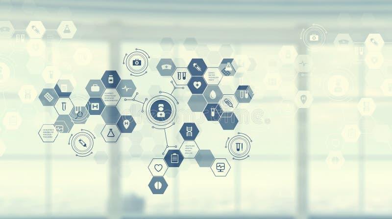 Moderne Schnittstelle des Medizinbenutzers Gemischte Medien stockfoto