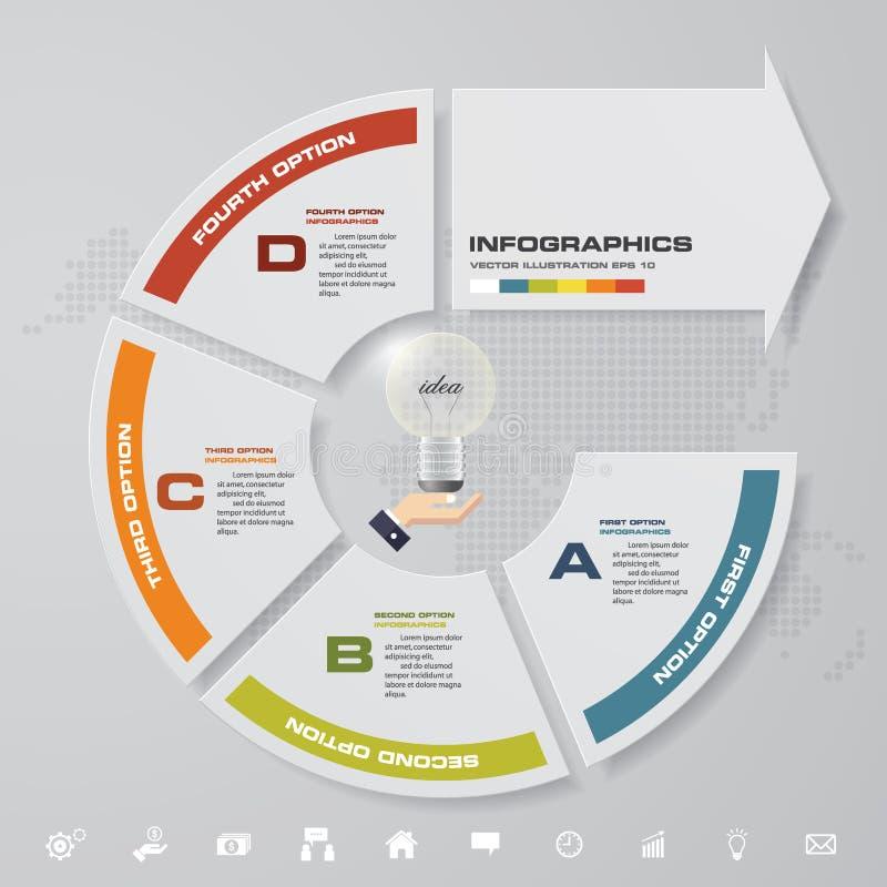 Moderne 4 Schritte mit infographic Element des Pfeiles mit Satz Ikonen für Darstellung lizenzfreie abbildung