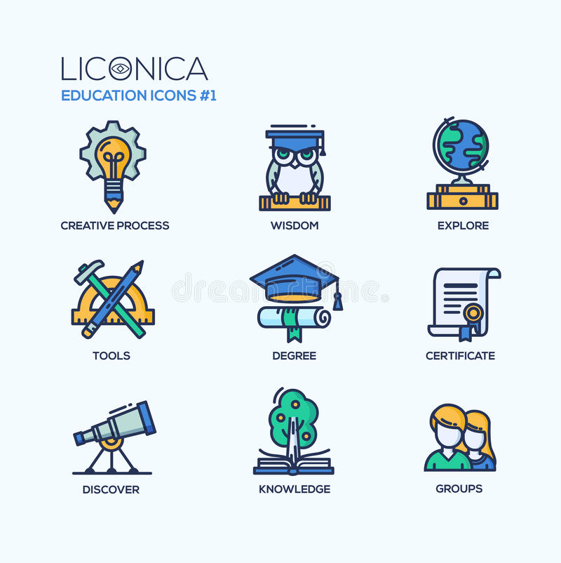Moderne Schule und dünne Linie der Bildung entwerfen Ikonen, Piktogramme vektor abbildung