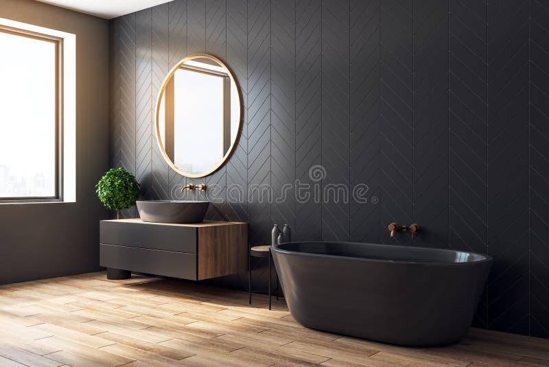 Moderne schwarze Badezimmerseite stock abbildung