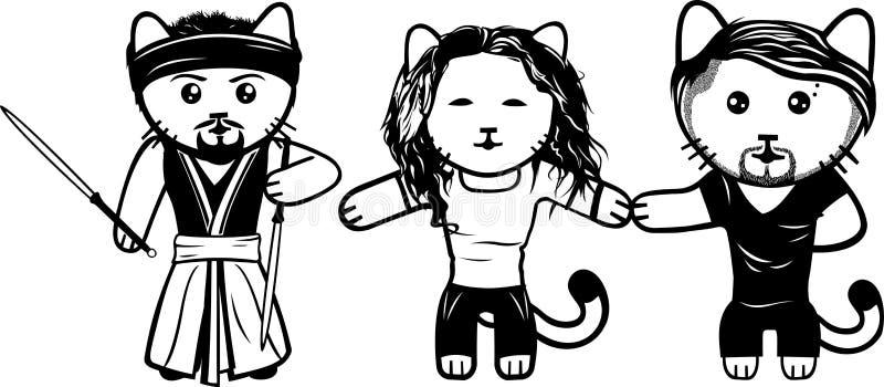 Moderne Schwarzweiss-Kätzchen Teil 6 lizenzfreie abbildung
