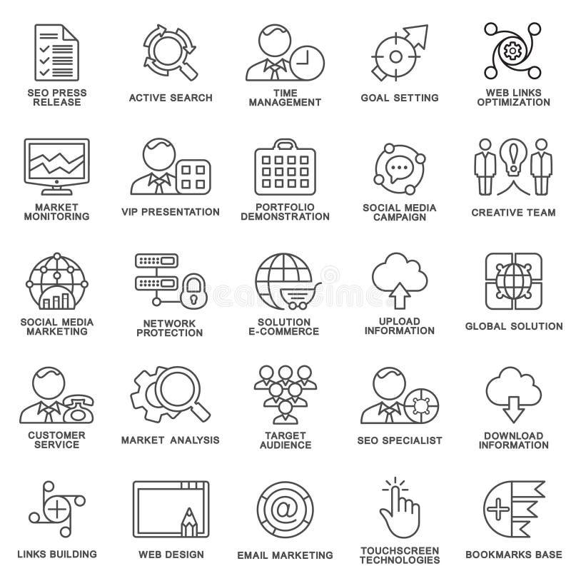 Moderne SEO-contourpictogrammen van Weboptimalisering, marketing royalty-vrije stock afbeeldingen