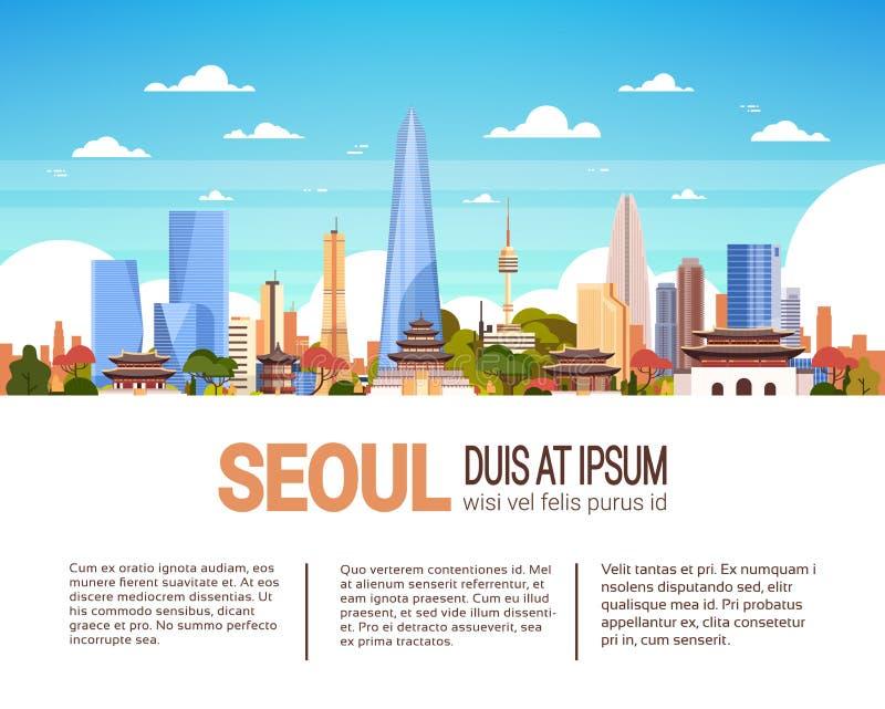 Moderne Seoul-Stadt-Skyline mit Wolkenkratzern und Markstein-Südkorea-Stadtbild Infographics-Fahne mit Kopien-Raum stock abbildung