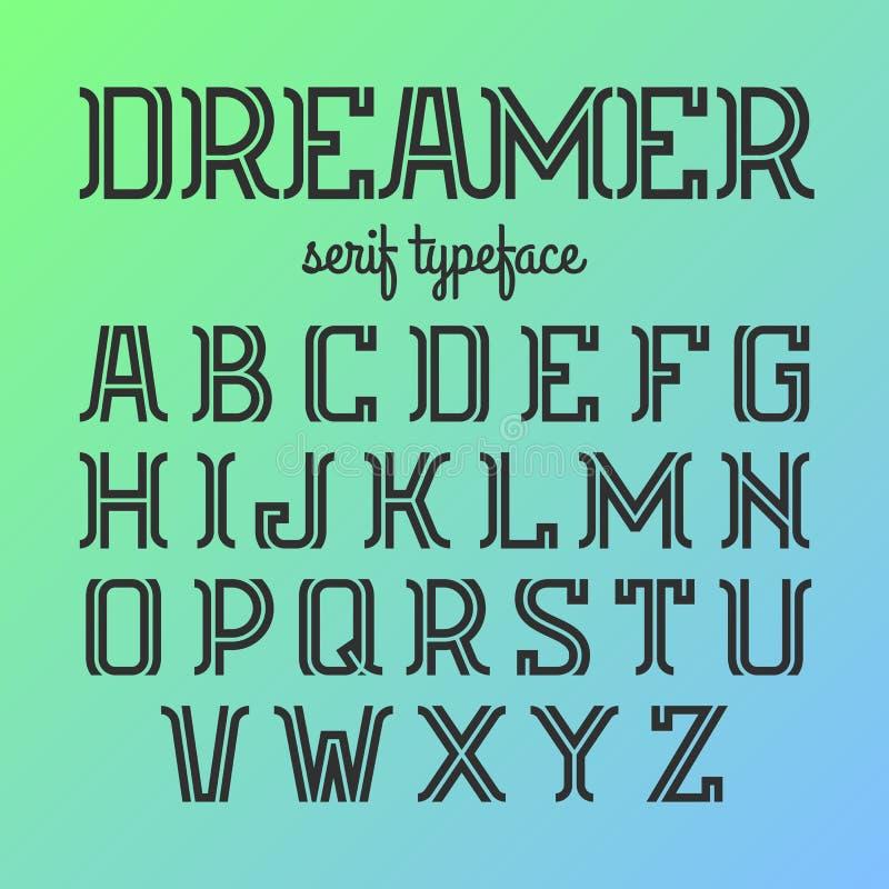 Moderne serif lettersoort, alfabet stock illustratie