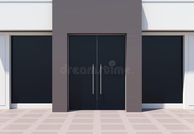 Moderne shopfront met grote deuren en vensters vector illustratie