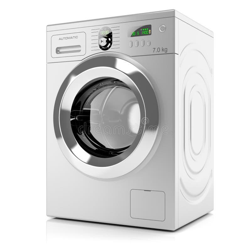 Moderne silberne Waschmaschine stock abbildung