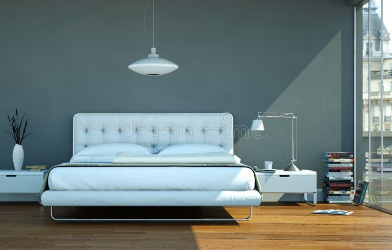 Moderne slaapkamer met grijze muur en modern decor vector illustratie