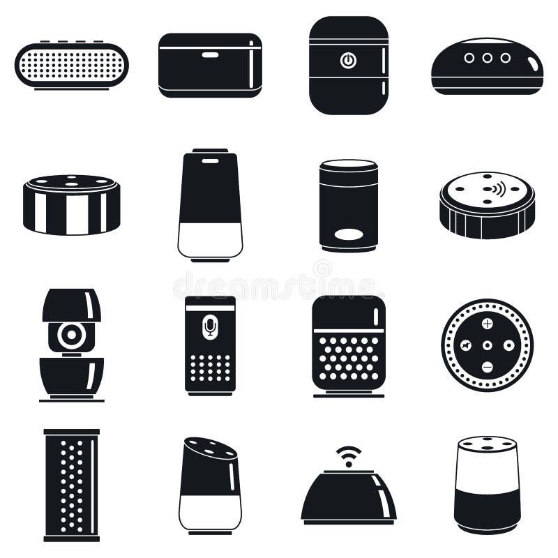 Moderne slimme geplaatste sprekerspictogrammen, eenvoudige stijl stock illustratie