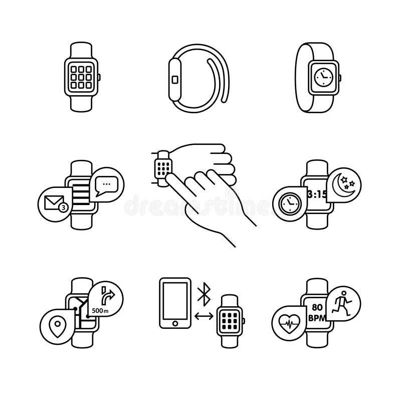 Moderne slimme horloges en apps stock illustratie