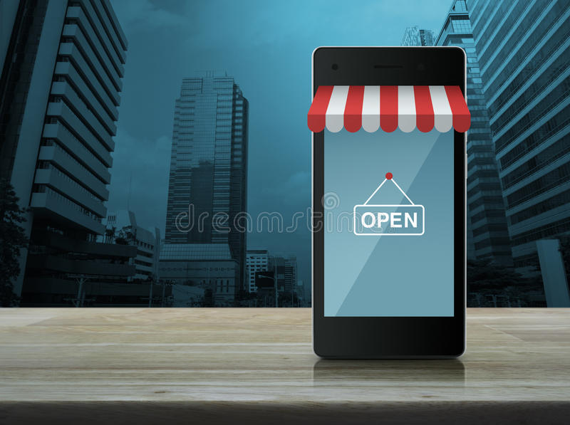Moderne slimme mobiele telefoon met online het winkelen opslag grafische royalty-vrije stock fotografie