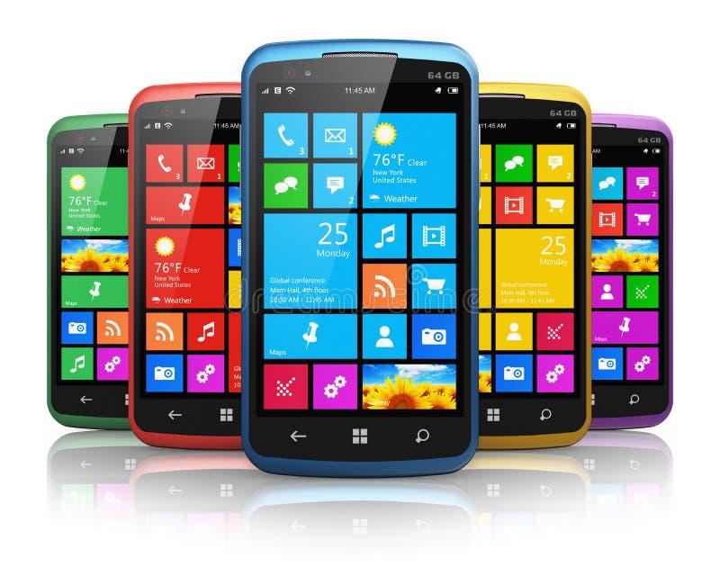 Moderne smartphones met touchscreen interface royalty-vrije illustratie