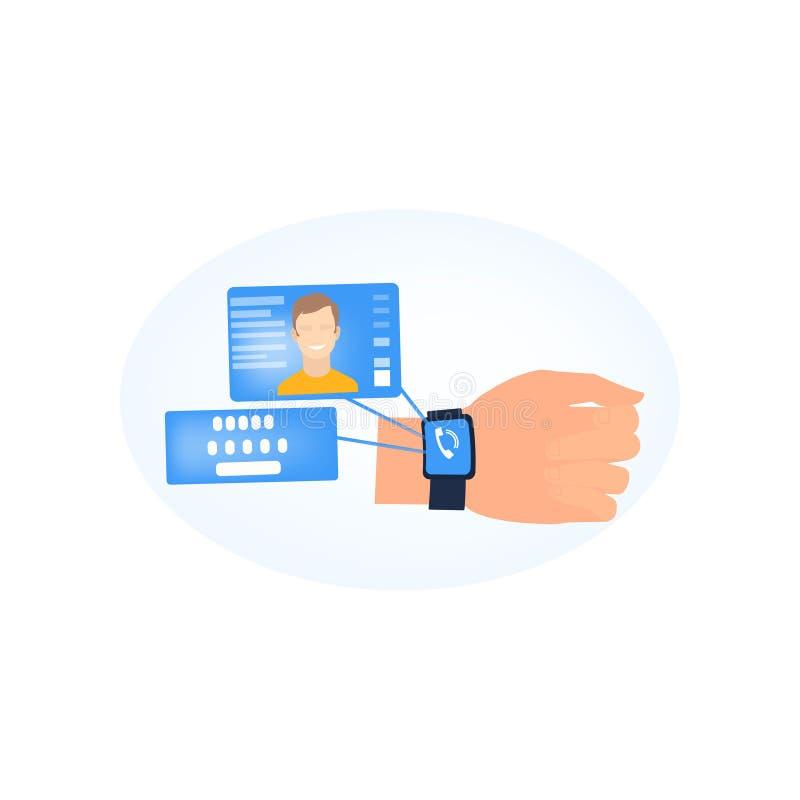 Moderne smartwatch van de mensenslijtage die het roepen van persoon toont stock illustratie