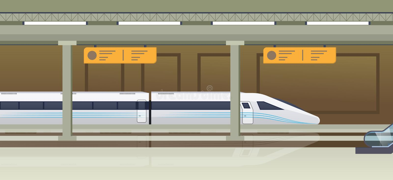 Moderne snelle trein op station Spoorwegtype vervoer, locomotief vector illustratie