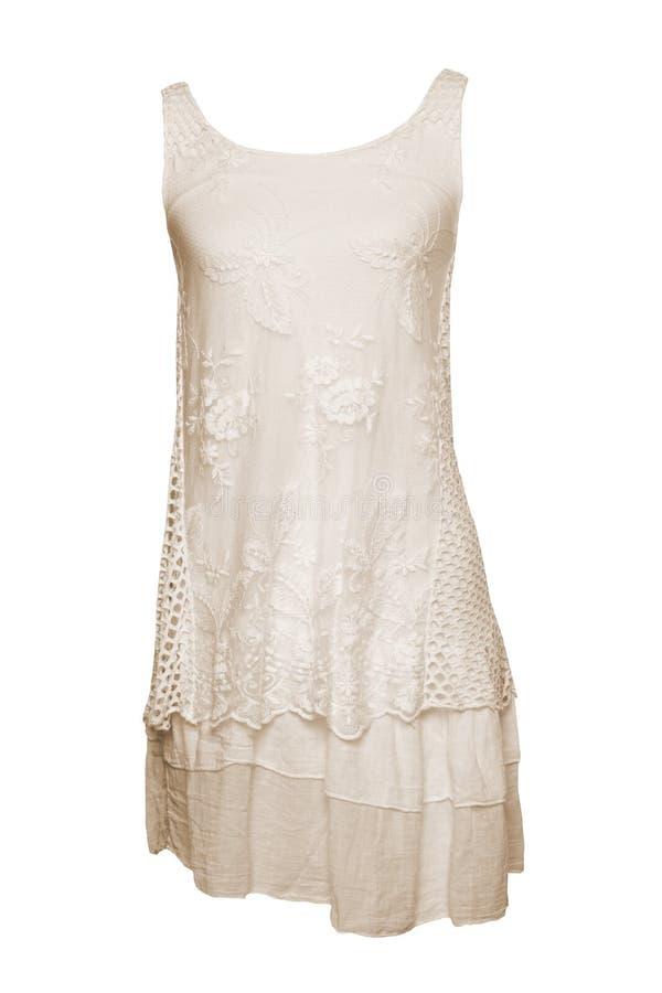 Moderne Sommerkleidung lokalisiert auf einem weißen Hintergrund beige lizenzfreie stockbilder
