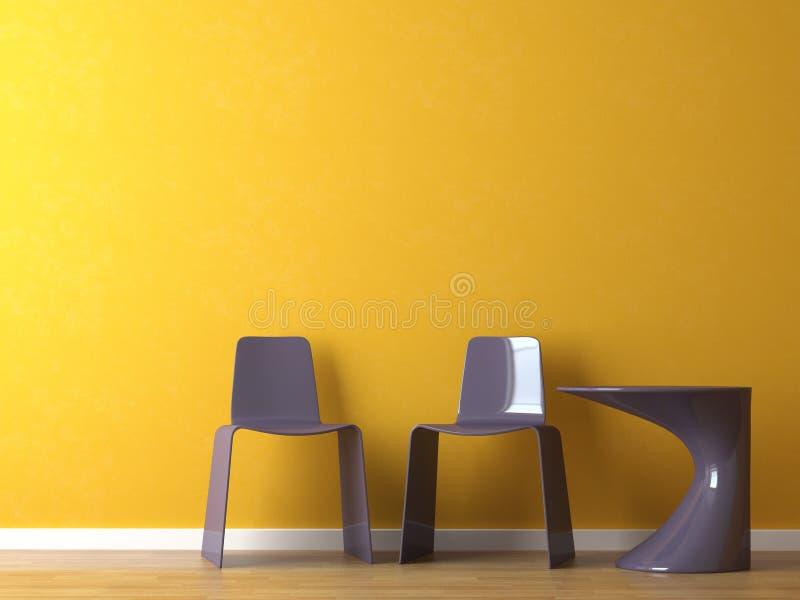 Moderne Stühle der Innenarchitektur auf orange Wand lizenzfreies stockbild