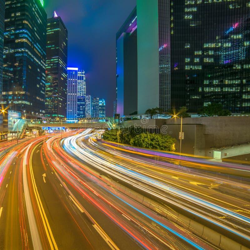 Moderne stad bij nacht, Hong Kong, China stock foto