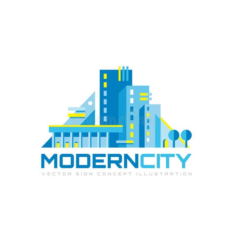 Moderne stad - het malplaatje vectorillustratie van het conceptenembleem Abstract de bouw creatief geometrisch teken Het symbool  royalty-vrije illustratie