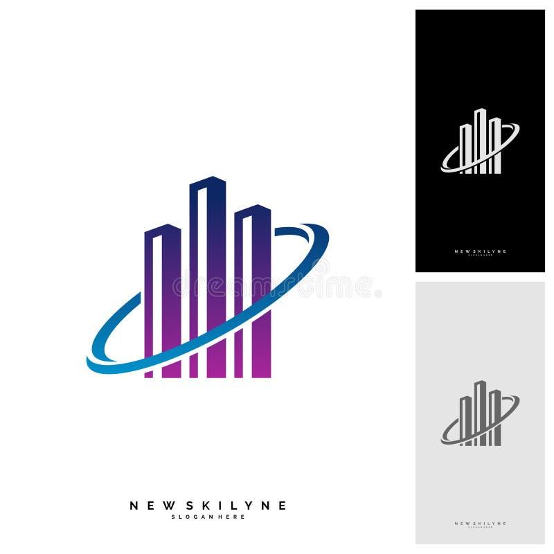 Moderne Stad Logo Concepts Collectief het ontwerp vectormalplaatje van het Bedrijfsfinanciënembleem - Vector royalty-vrije illustratie