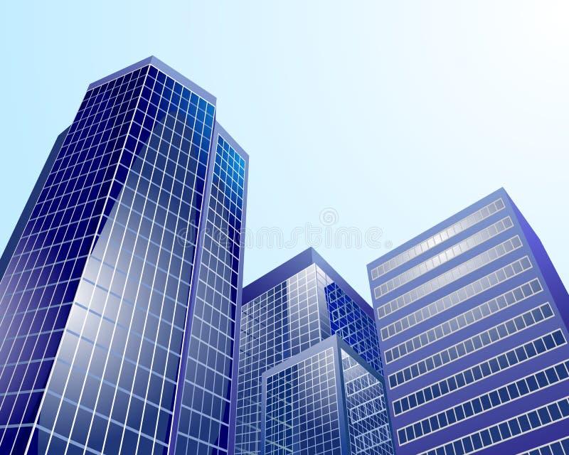 Moderne stad op hemelachtergrond vector illustratie