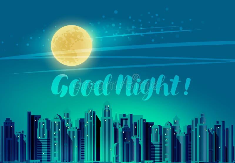 Moderne stad, panoramische cityscape Goede nacht, van letters voorziende vectorillustratie vector illustratie
