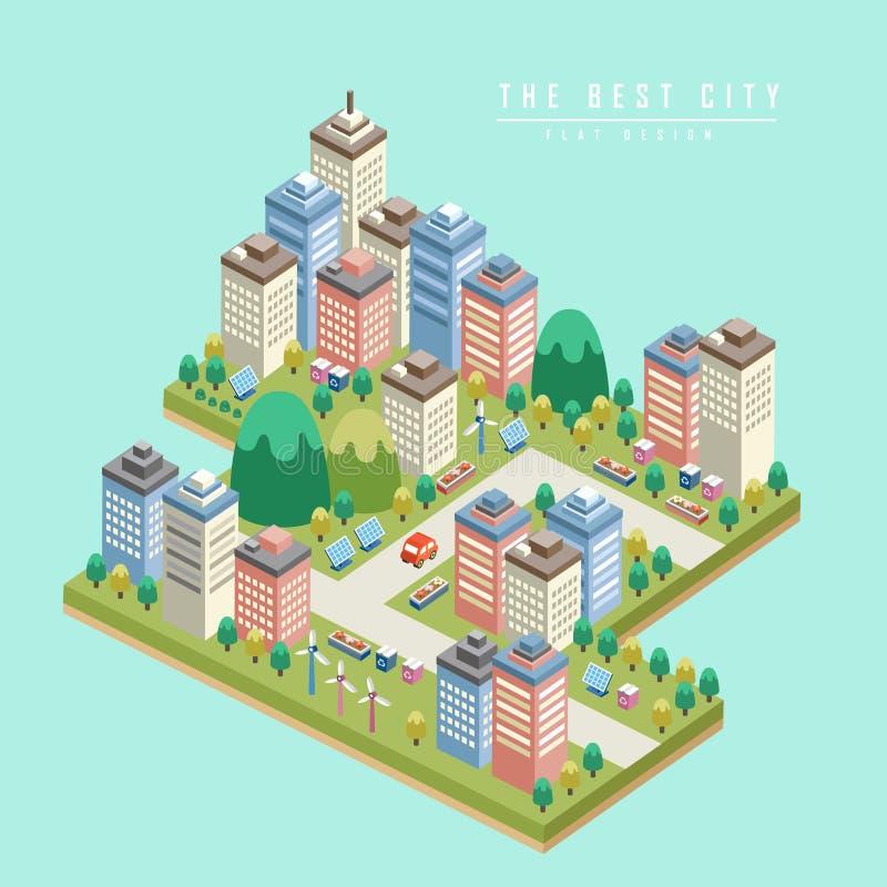 Moderne stads 3d isometrische infographic stock illustratie