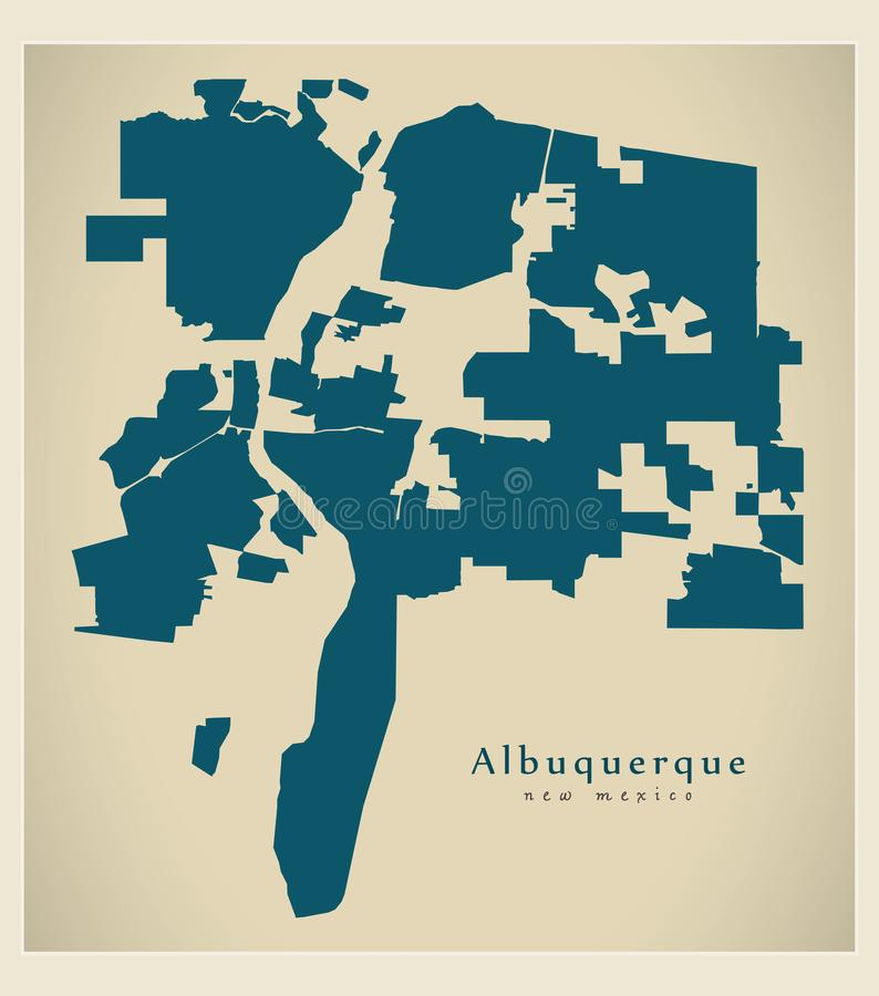 Moderne Stadskaart - de stad van Albuquerque New Mexico van de V.S. vector illustratie