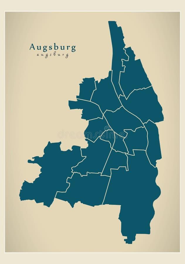 Moderne Stadskaart - de stad van Augsburg van Duitsland met steden DE vector illustratie