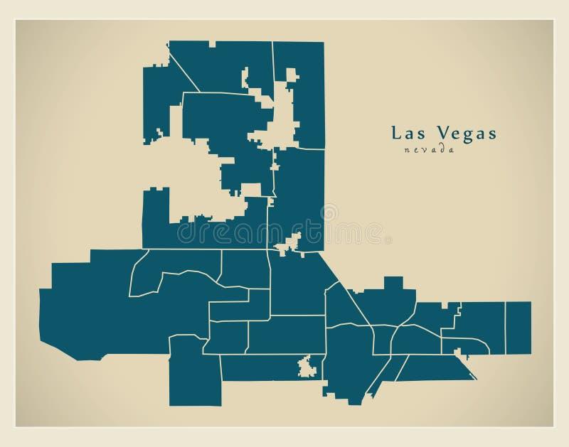 Moderne Stadskaart - de stad van Las Vegas Nevada van de V.S. met buur vector illustratie