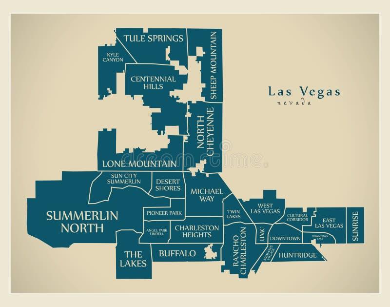 Moderne Stadskaart - de stad van Las Vegas Nevada van de V.S. met buur stock illustratie