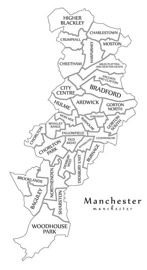 Moderne Stadskaart - de stad van Manchester van Engeland met afdelingen en titl stock illustratie