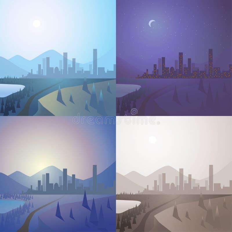 Moderne Stadt auf der flachen Szene des Horizontes eingestellt: Tag, Nacht, Sonnenuntergang, Sepia lizenzfreie abbildung