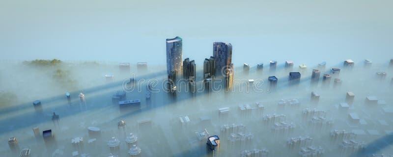 Moderne Stadt im Nebel lizenzfreie abbildung