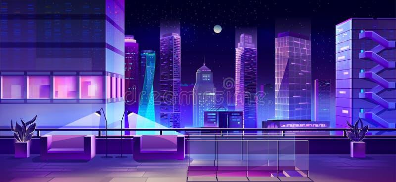 Moderne Stadt megapolis nachts, Stadtbildansicht vektor abbildung