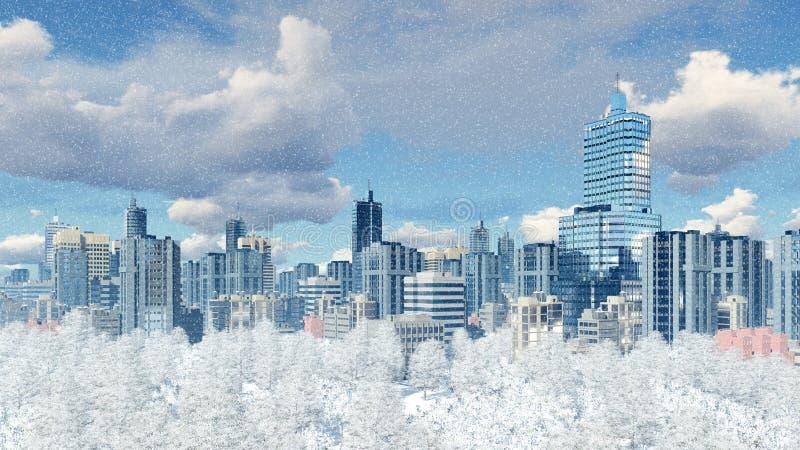 Moderne Stadt mit Parkzone an den Schneefällen lizenzfreie abbildung