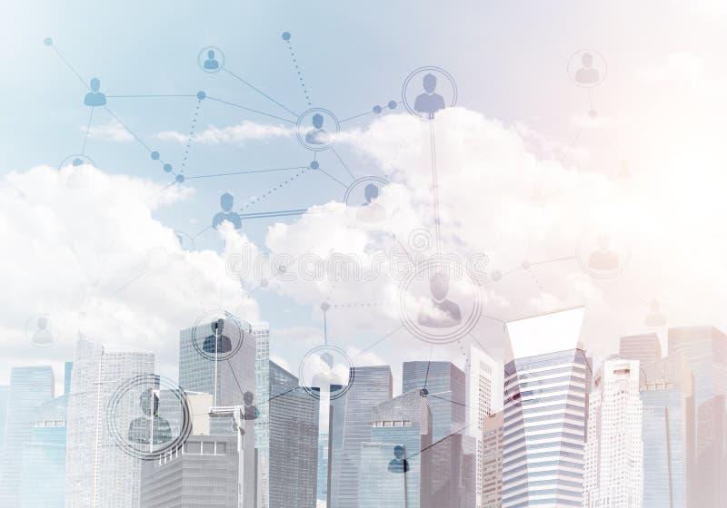 Moderne Stadt und Sozialnetz als Konzept für globale Vernetzung lizenzfreie abbildung