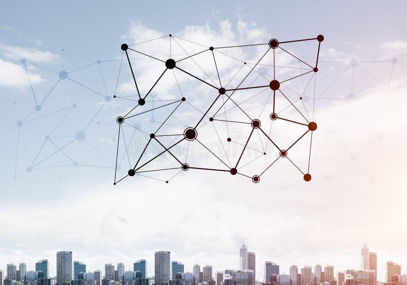 Moderne Stadt und Sozialnetz als Konzept für globale Vernetzung lizenzfreie stockfotografie