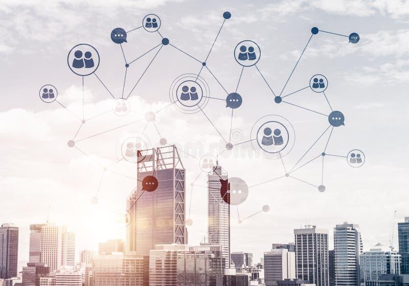 Moderne Stadt und Sozialnetz als Konzept f?r globale Vernetzung stockbilder