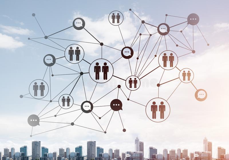 Moderne Stadt und Sozialnetz als Konzept f?r globale Vernetzung stockfotografie