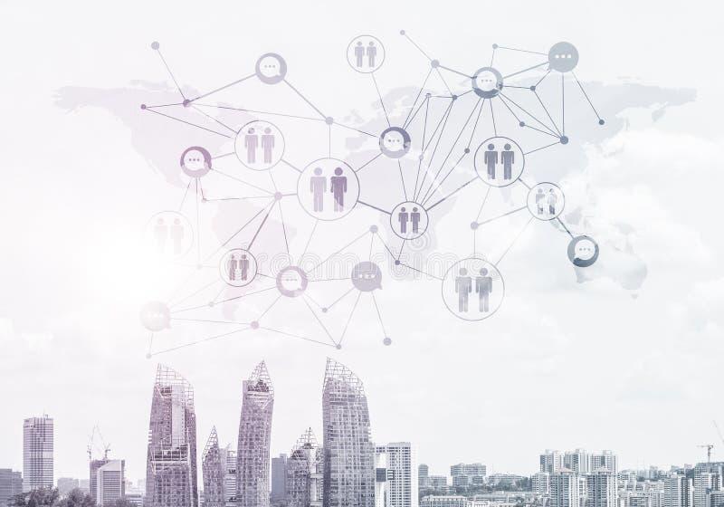 Moderne Stadt und Sozialnetz als Konzept f?r globale Vernetzung stockfoto