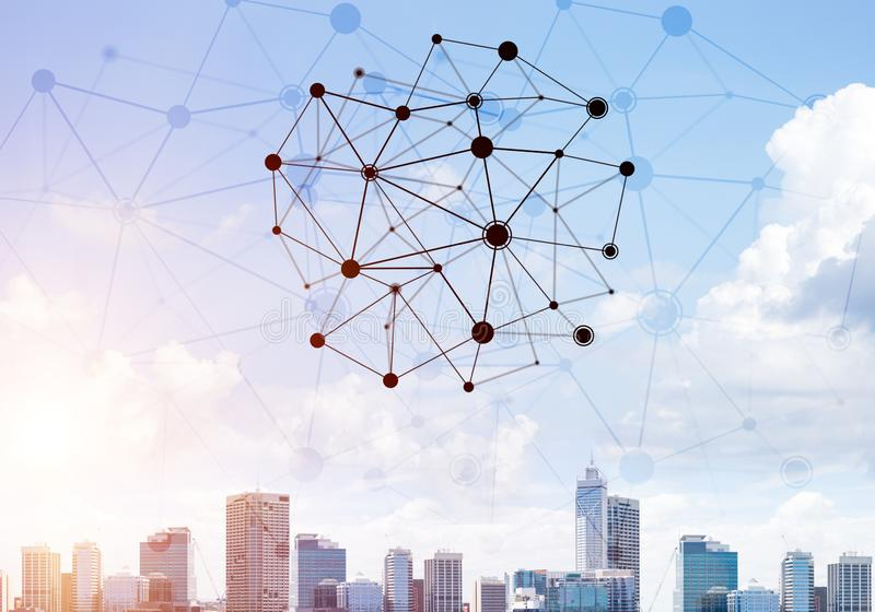 Moderne Stadt und Sozialnetz als Konzept f?r globale Vernetzung stockfotos