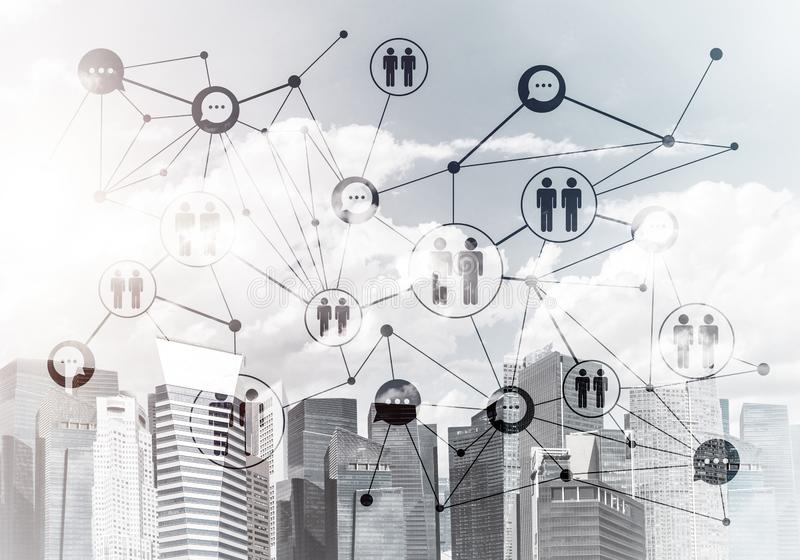 Moderne Stadt und Sozialnetz als Konzept f?r globale Vernetzung stockbild