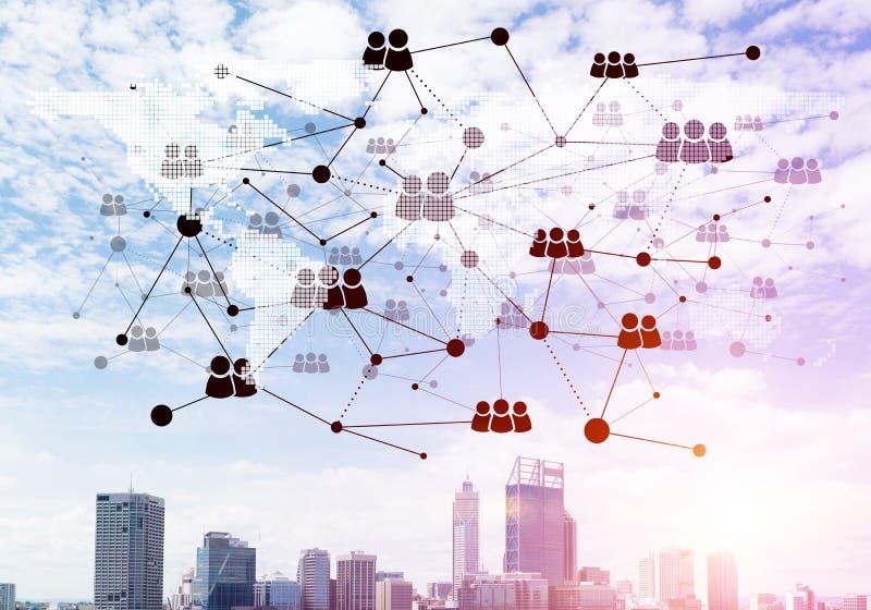 Moderne Stadt und Sozialnetz als Konzept f?r globale Vernetzung lizenzfreies stockfoto