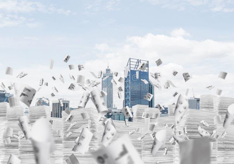 Moderne Stadtansicht mit Wolkenkratzern stockfotografie