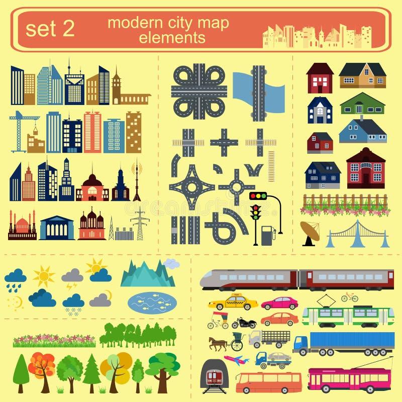 Moderne Stadtplanelemente für die Erzeugung Ihres eigenen infographics, m vektor abbildung