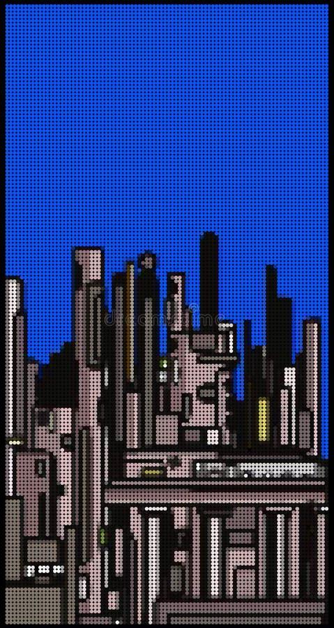 Moderne Stadtskyline gemacht mit Blasenmuster vektor abbildung