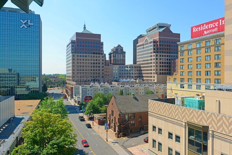 Moderne Stadtskyline Hartfords, Connecticut, USA lizenzfreies stockfoto