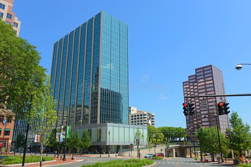 Moderne Stadtskyline Hartfords, Connecticut, USA stockfotos