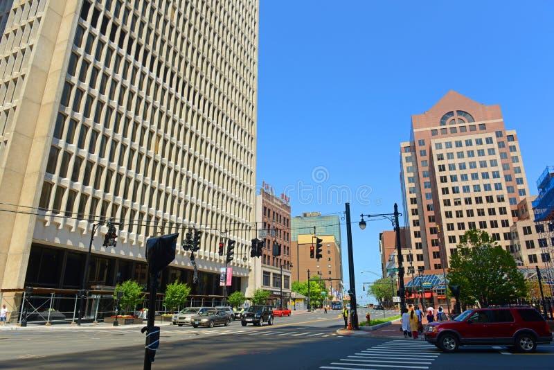 Moderne Stadtskyline Hartfords, Connecticut, USA stockbilder
