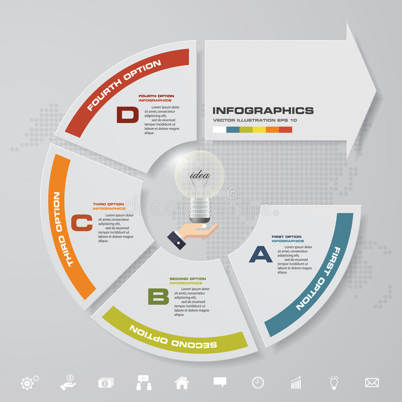 Moderne 4 stappen met pijl infographic element met reeks pictogrammen voor presentatie royalty-vrije illustratie
